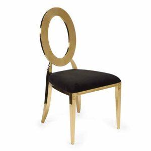 Gold Dorsia Chair - Black Velvet Seat