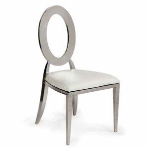 Silver Dorsia Chair - Off-White Seat