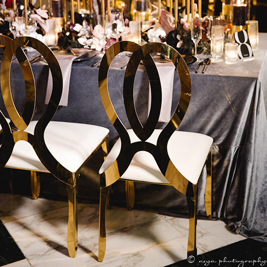 Gold Monarch Chair - Black Cushion