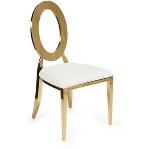 Gold Dorsia Chair - Off-White Seat