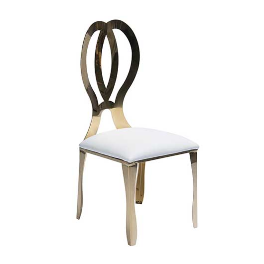 Gold Dorsia Chair W Off White Seat Vision Furniture