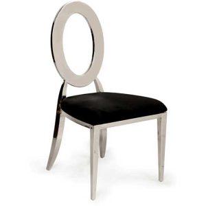 Silver Dorsia Chair - Black Velvet Seat