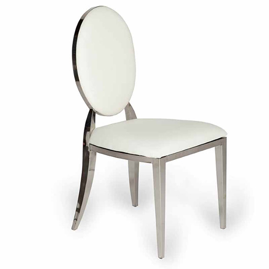 Oscar Silver And White Dining Chair