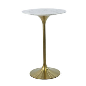 High Tulip Table w/ Marble Top & Brass Base