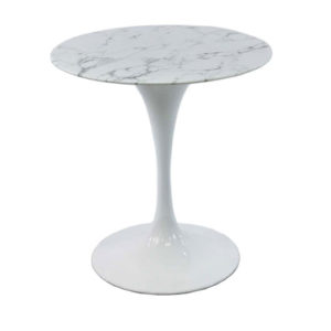 Low Tulip Table w/ Marble Top & White Base