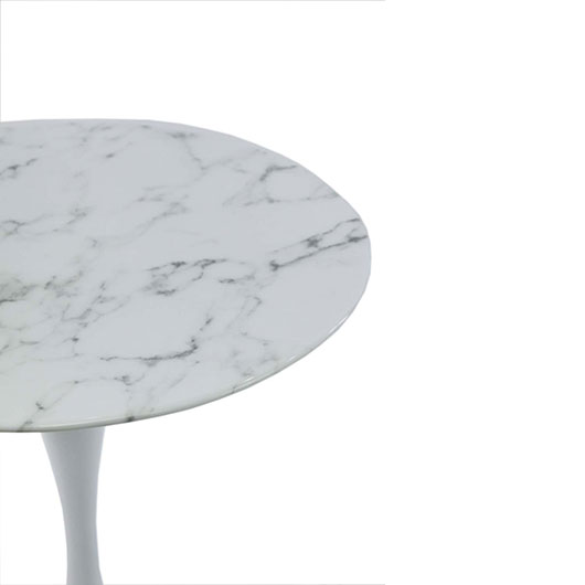 Low Tulip Table - Marble Top | White